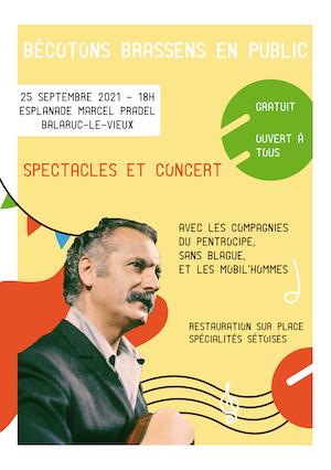 affiche événement Bécotons Brassens en public